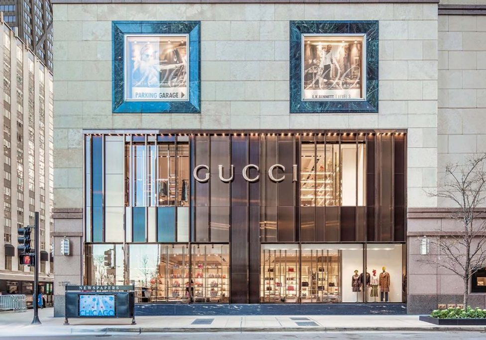 The largely glass front façade of the Gucci flagship store built by J.T. Magen & Company Inc. on Chicago's North Michigan Avenue.