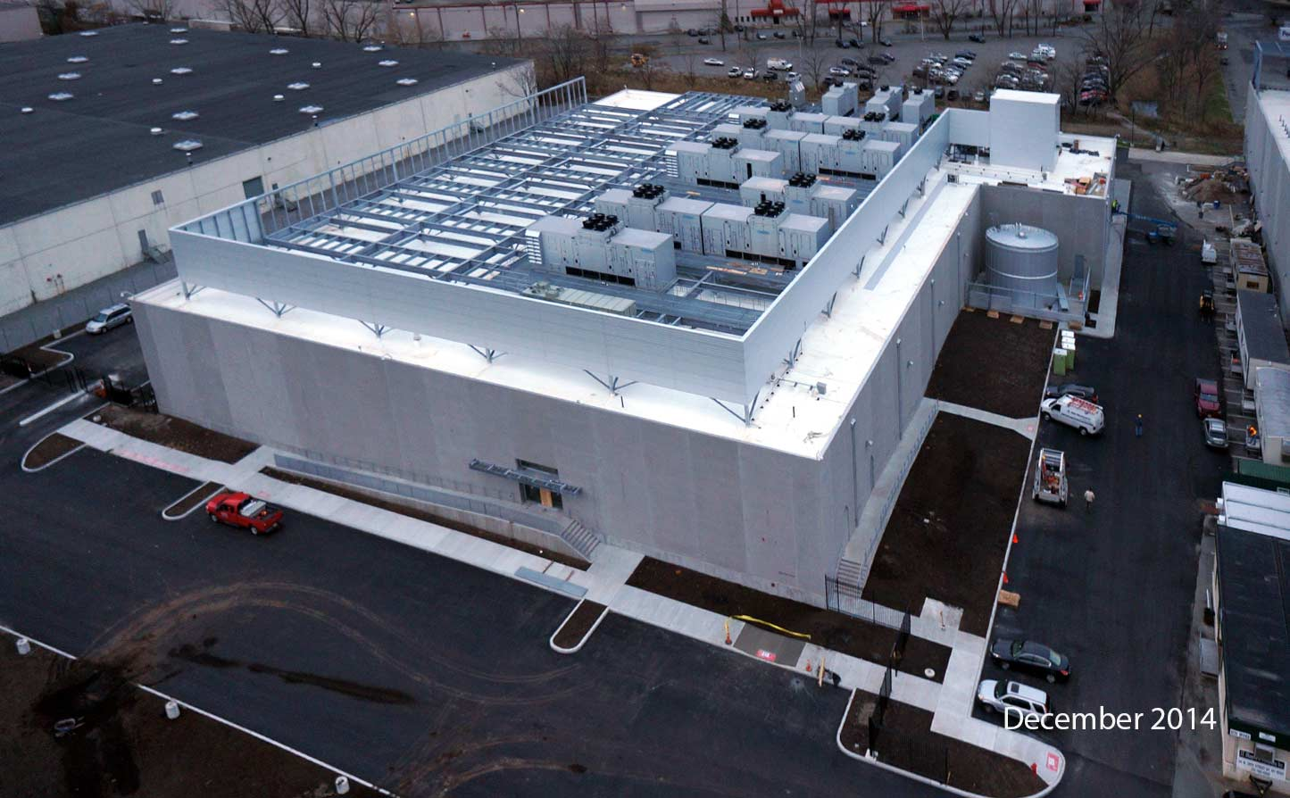 After: Elevated exterior view of the of completed construction of the NY6 data center constructed by general contractor J.T. Magen & Company Inc. in Secaucus, New Jersey.
