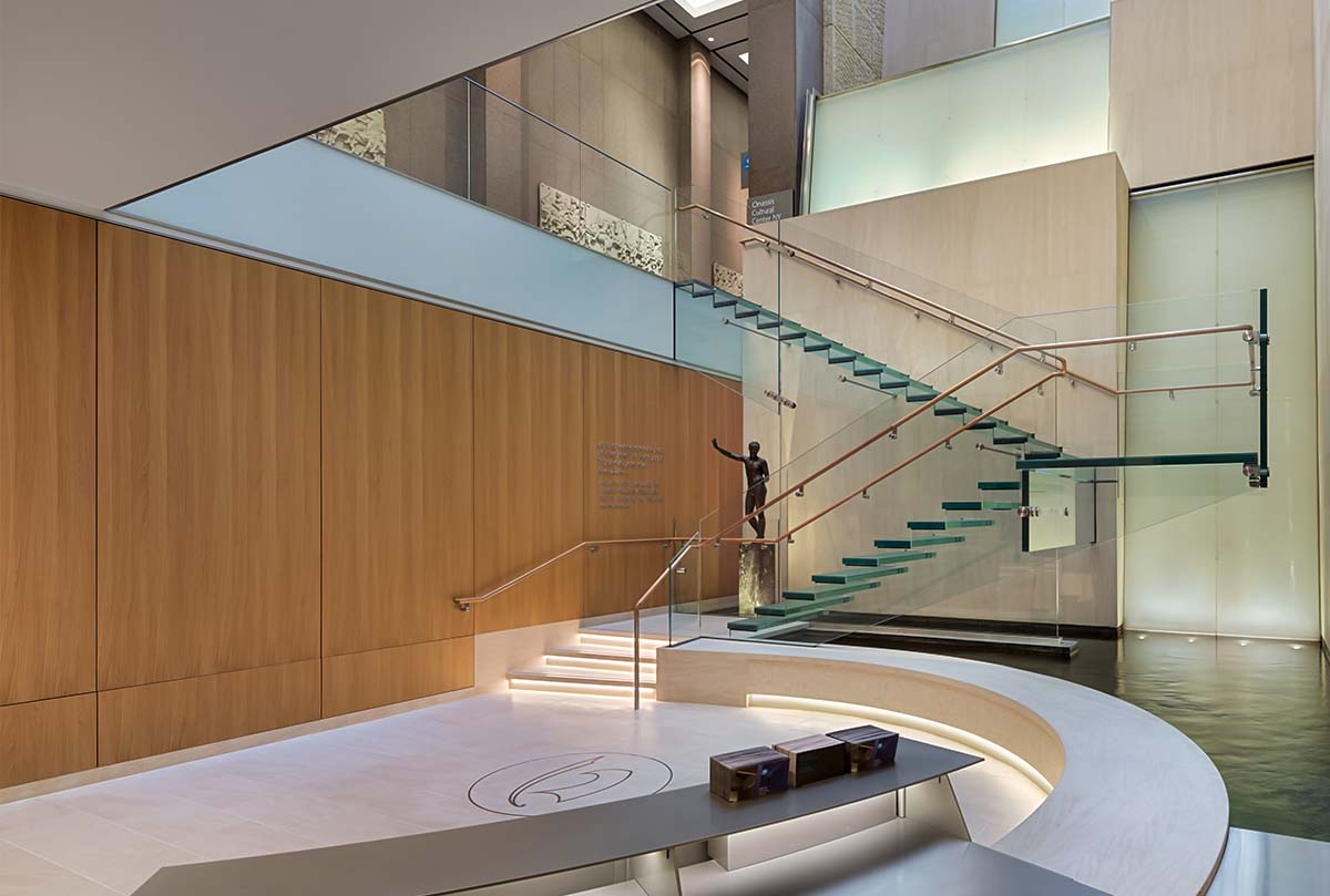 After: A post-construction view of the atrium lobby at the Onassis Cultural Center renovated and expanded by general contractor J.T. Magen & Company Inc. in New York's Olympic Tower on Fifth Avenue.