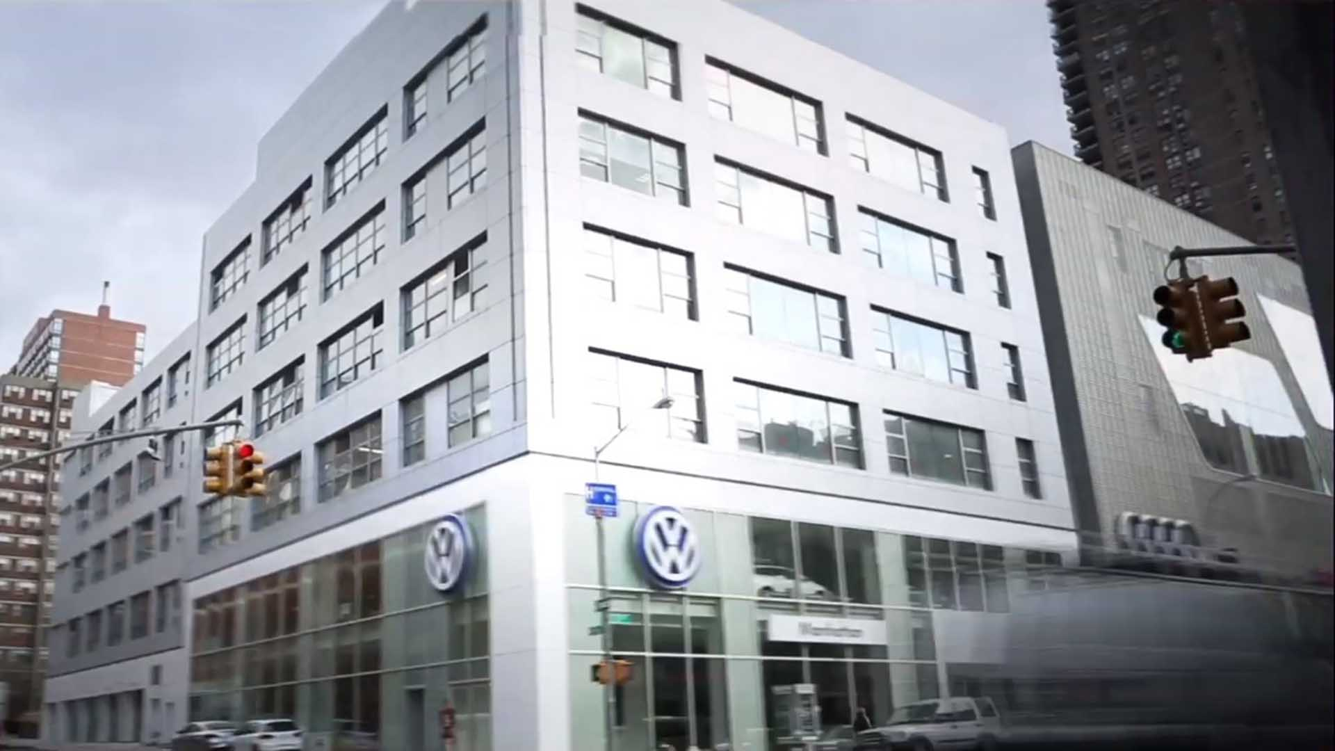 The glass façade fronting the VW Manhattan dealership was built by general contractor J.T. Magen & Company Inc. on Eleventh Avenue, New York.