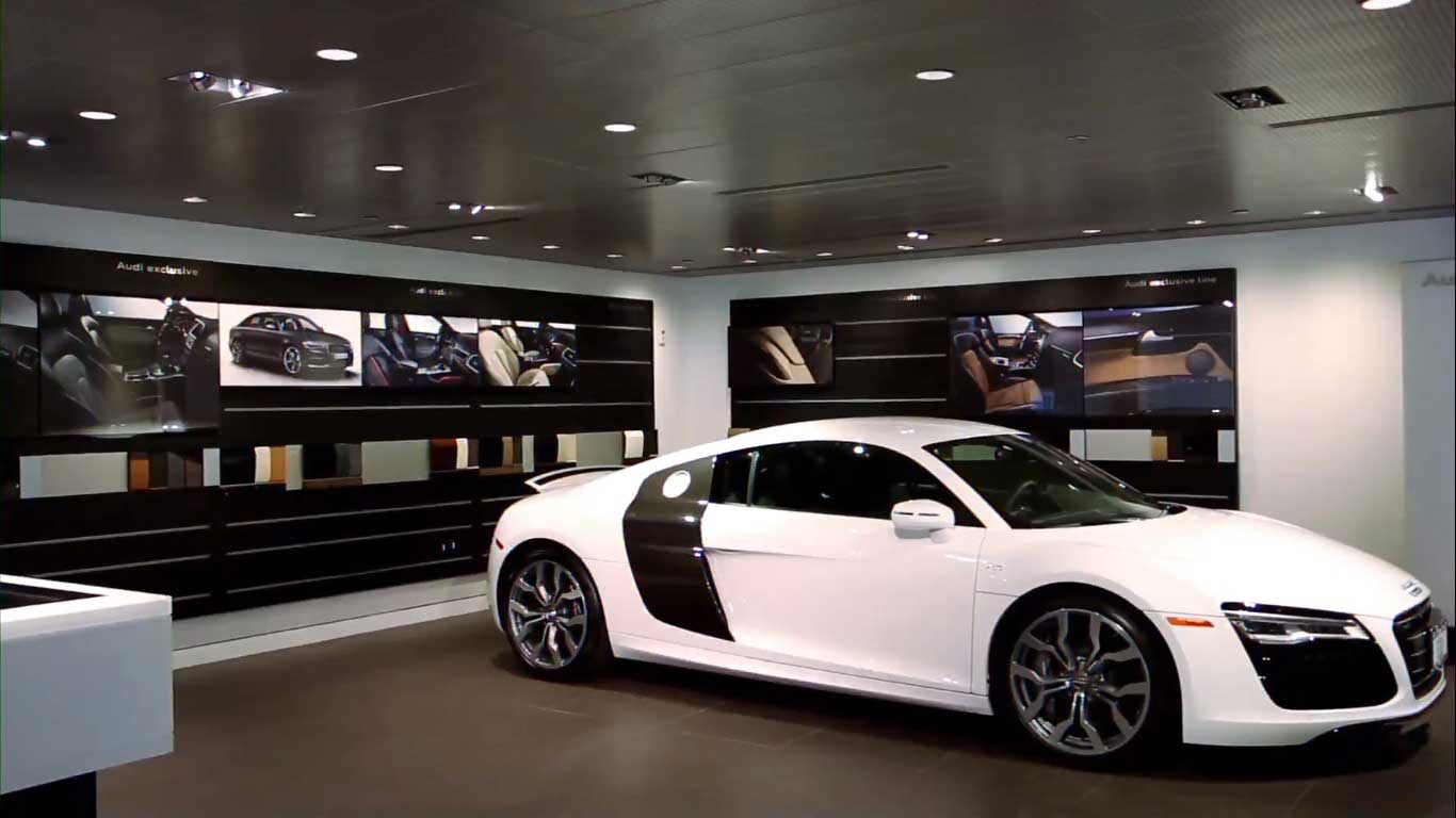 The wow-factor finished spaces for Audi Manhattan built by J.T. Magen & Company Inc. on Eleventh Avenue perfectly showcase high-performance cars.